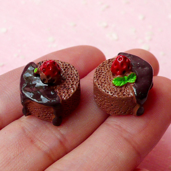 Chocolate Soufflé Cabochons / 3D Miniature French Dessert Cabochon (2pcs / 15mm x 14mm) Dollhouse Patisserie Sweets Decoden Pieces FCAB115