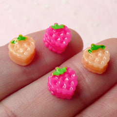 Miniature Strawberry Biscuit Cabochons (4pcs / 7mm x 8mm) Miniature Sweets Dollhouse Biscuit NAIL ART Nail Decoration Earrings Making NAC088