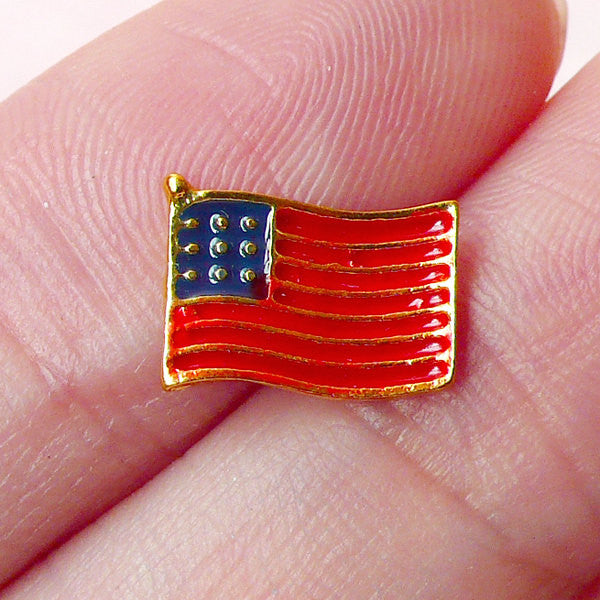 Mini USA Flag Cabochon (10mm x 7mm) Kawaii United States Flag Nail Art Nail Decoration Earrings Making Fake Mini Cupcake Topper NAC099