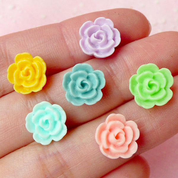 Mini Flower Cabochon (6pcs / 10mm / Pastel Color) Tiny Floral Cabochon Scrapbooking Decoden Cell Phone Deco Colorful Earrings Making CAB249