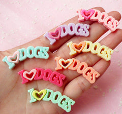 I Love Dogs Cabochon (7pcs / 41mm x 15mm / Pastel Color) Animal Cabochon Scrapbooking Decoden Kawaii Cell Phone Deco Colorful CAB250