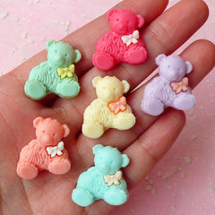 Bear with Bow Cabochon (6pcs / 20mm x 22mm / Pastel Color) Doll Cabochon Scrapbooking Decoden Kawaii Cell Phone Deco Colorful CAB253