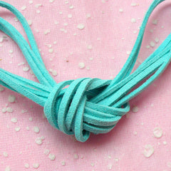 Flat Suede Leather Cord / Faux Leather Strings / Leather Strips / Leather Straps (3mm / 2 Meters / Sky Blue) DIY Bracelet Necklace F104