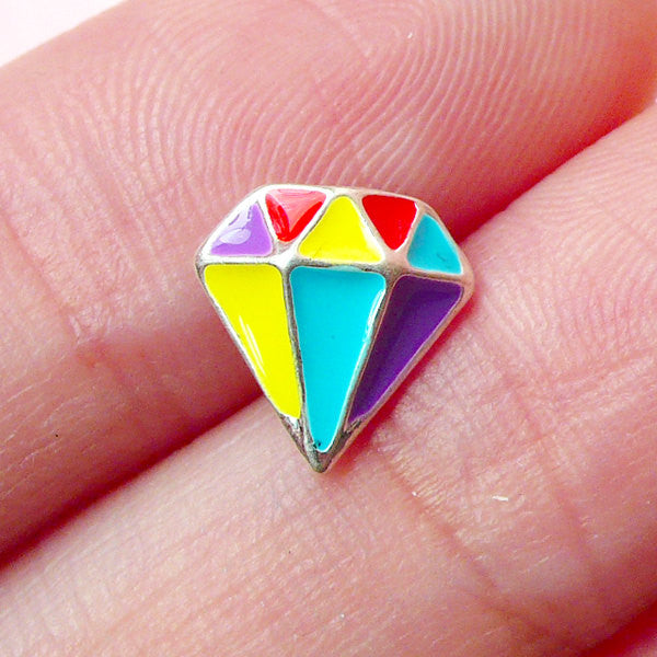 Colorful Diamond Mini Cabochon (9mm x 9mm) Kawaii Nail Art Nail Decoration Earrings Making Fake Miniature Cupcake Topper NAC100