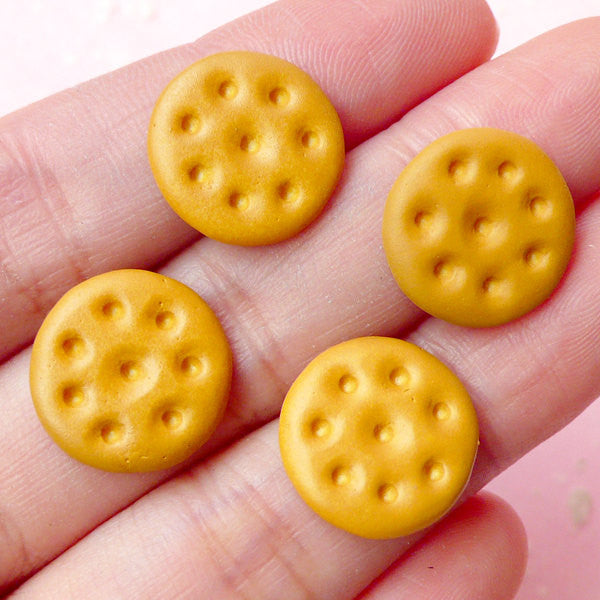 Dollhouse Round Biscuit Cabochons (4pcs / 14mm) Fake Miniature Sweets Cabochon Kawaii Decoden Phone Case Whimsy Novelty Jewellery FCAB117