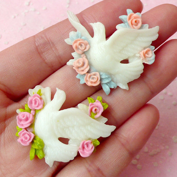 Peace Dove with Flower Cabochon (2pcs / 34mm x 30mm) Bird Cabochon Jewelry Making Scrapbooking Decoden Kawaii Cell Phone Deco CAB255
