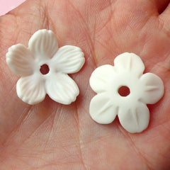 Flower Sakura Cabochon (2pcs / 21mm x 23mm / White) Floral Cabochon Scrapbooking Decoden Cell Phone Deco Jewelry Making CAB256