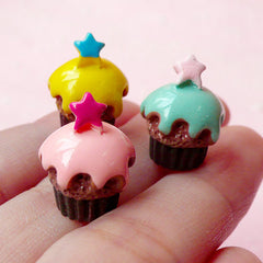 3D Cupcake Cabochon w/ Star (3pcs / 12mm x 16mm) Miniature Sweets Dollhouse Cupcake Jewelry Kawaii Deco Fairy Kei Decoden Supplies FCAB120
