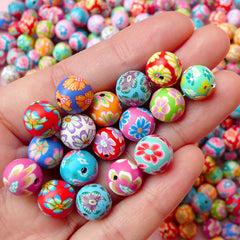 Flower Beads Mix / Assorted Polymer Clay Beads (10mm / Round / Floral / 20pcs by Random) Jewellery Findings Bracelet Keyrings Beading F108