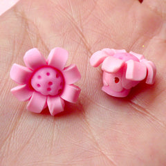 Sunflower Chrysanthemum Beads / Cabochon (2pcs / 16mm / Pink) Polymer Clay Flower Beads Scrapbooking Cell Phone Deco Jewelry Making CAB258