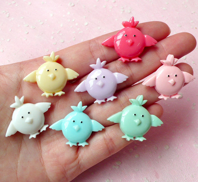 Chicken Cabochon Mix (7pcs / 29mm x 24mm / Pastel Color) Kawaii Animal Cabochon Decoden Supplies DIY Cell Phone Deco Scrapbooking CAB260
