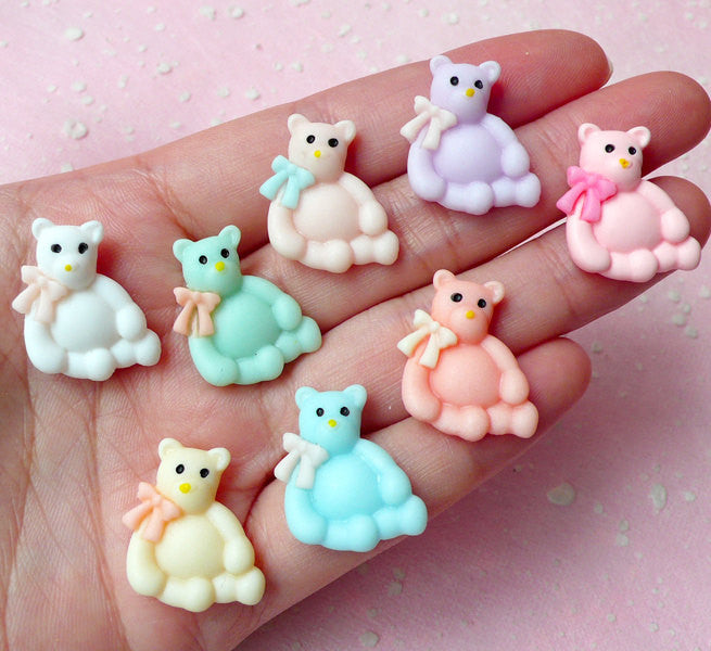 Bear with Ribbon Cabochon Mix (8pcs / 17mm x 21mm / Pastel Color) Kawaii Animal Cabochon Decoden DIY Cell Phone Deco Scrapbooking CAB262