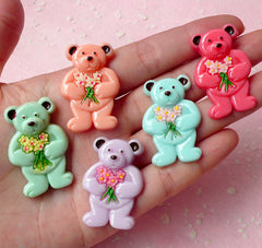 Bear with Flower Cabochon Mix (5pcs / 35mm x 23mm / Pastel Color) Kawaii Animal Cabochon Decoden DIY Cell Phone Deco Scrapbooking CAB263