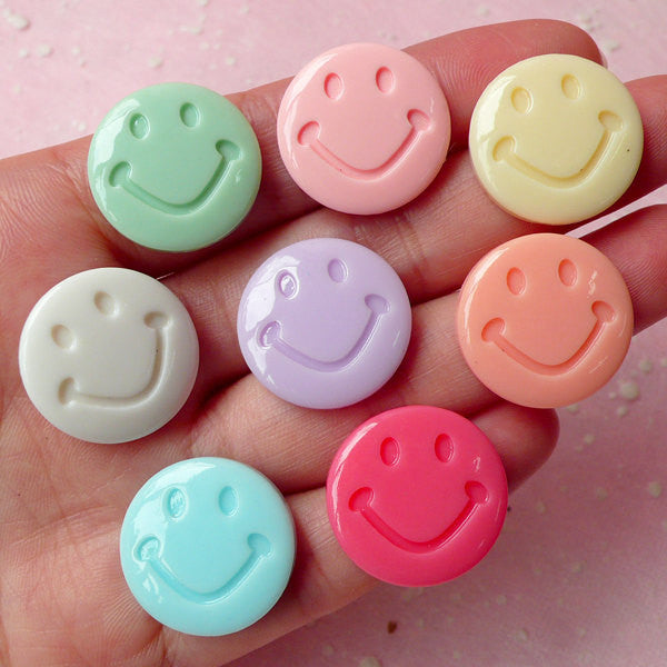 Smiley Cabochon Set (8pcs / 20mm / Pastel Color) Kawaii Happy Cabochon Decoden DIY Cell Phone Deco Scrapbooking CAB264