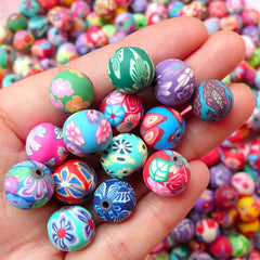 Polymer Clay Beads Lot / Assorted Flower Beads Mix (12mm / Round / Floral / 15pcs by Random) Bead Supplies Bracelet Necklace Beading F109