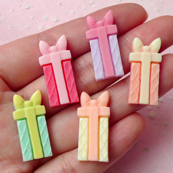 Gift Box Cabochon Set (5pcs / 25mm x 12mm / Pastel Color) Kawaii Present Cabochon Decoden DIY Cell Phone Deco Scrapbooking CAB265