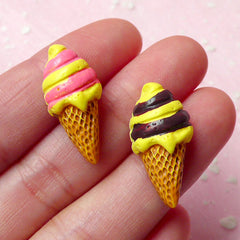Miniature Ice Cream Cabochon (2pcs / 12mm x 24mm / Flat Back) Dollhouse Sweets Deco Phone Case Decoration Kawaii Craft Supplies FCAB123