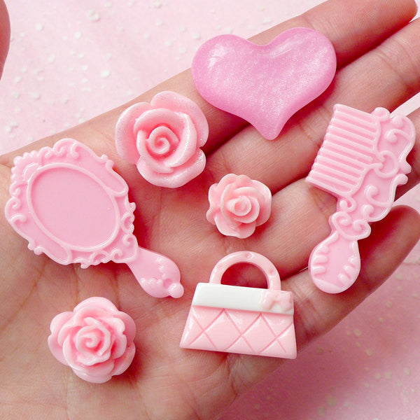 Pink Princess Cabochon Mix (7pcs / Comb Mirror Handbag Flower Rose Heart) Scrapbooking Decoden Kawaii Cell Phone Deco Lolita CAB269