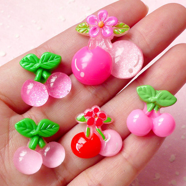 Decoden Cabochons / Assorted Cherry Cabochon Mix (5pcs / 18mm & 25mm / Flat Back) Kawaii Fruit Embellishment Decora Hair Clip Making FCAB121