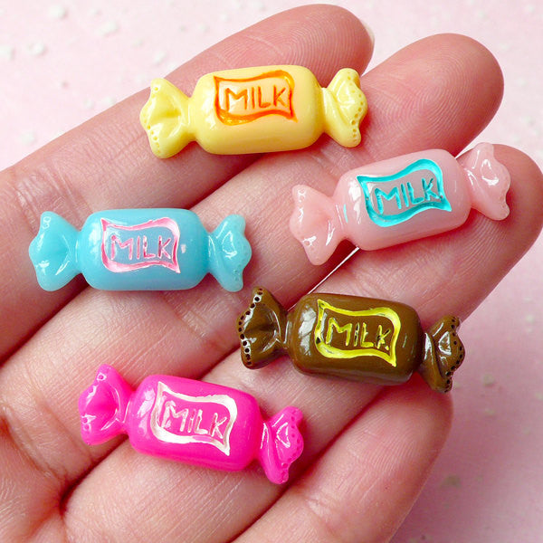 Kawaii Resin Cabochon / Bowtie Bow Tie Taffy Candy Cabochon (5pcs / 24mm x 9mm / Colorful Mix) Fake Sweets Deco Decoden Phone Case FCAB124
