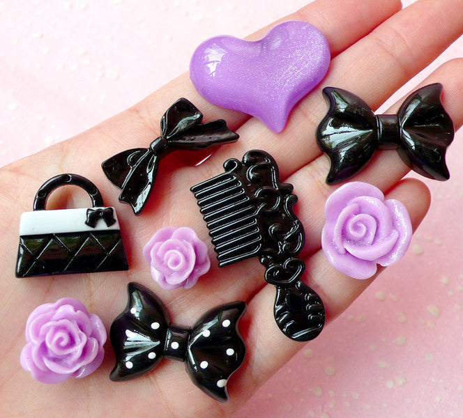 Mystery Princess Cabochon Mix (9pcs / Comb Handbag Flower Rose Heart Bow Ribbon / Black Purple) Scrapbooking Cell Phone Deco Lolita CAB270