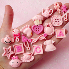 Pink Baby Cabochon Mix (19pcs / Button Cupcake Bear Foot Bib Dress Sunglasses ABC Monkey) Scrapbooking Kawaii Cell Phone Deco CAB271