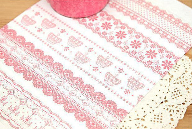 Clear Tape Transparent Deco Tape BIG Kawaii Pink Lace Tape (1 pc BY RANDOM) Scrapbooking Card Gift Packaging Wedding Home Decor WR03