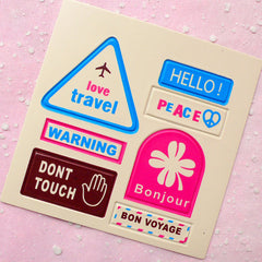 Travel Leather Sticker Set (Bonjour) Suitcase Luggage Cell Phone Deco Scrapbooking Packaging Party Diary Deco Collage Home Decor S107