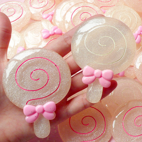 DEFECT Jumbo Lollipop Lolly Sticky Pop Cabochon (60mm x 80mm) Large Sweets Embellishment Kawaii Phone Case Decoration Decoden Supply FCAB127