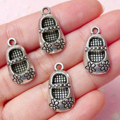 Baby Girl Shoe Charms w/ Flower (4pcs) (11mm x 21mm / Tibetan Silver) Pendant Bracelet Earrings Zipper Pulls Bookmark Keychains CHM258