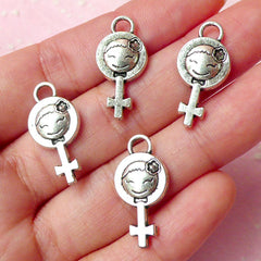 Female Gender Symbol Girl Charms (4pcs) (23mm x 11mm / Tibetan Silver) Metal Finding Pendant Bracelet Zipper Pulls Bookmark Keychains CHM269