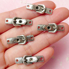 Belt Charms Connector (5pcs) (24mm x 9mm / Tibetan Silver) Pendant Bracelet Making Earrings Zipper Pulls Bookmarks Key Chains CHM282