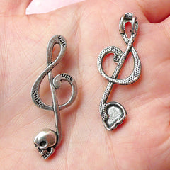 Music Note / Treble Clef / G-clef Charms w/ Skull (3pcs) (41mm x 15mm / Tibetan Silver) Rock Pendant Bracelet Earrings Zipper Pulls CHM289