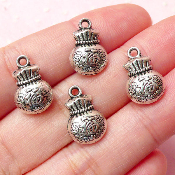 Chinese Lucky Bag Charms (4pcs) (10mm x 15mm / Tibetan Silver / 2 Sided) Pendant Bracelet Earrings Kawaii Bookmark Keychains CHM315
