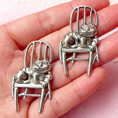 Alice in Wonderland Charm Cat Charms (2pcs) (22mm x 41mm / Tibetan Silver) Kawaii Metal Finding Pendant Bookmark Keychains CHM316