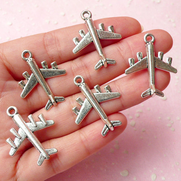 Airplane Charms (5pcs) (23mm x 28mm / Tibetan Silver / 2 Sided) Metal Finding Pendant Bracelet Zipper Pulls Bookmark Keychains CHM327