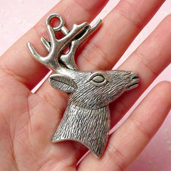 Reindeer Charms Deer Charm (1pc) (44mm x 52mm / Tibetan Silver) Christmas Charms Pendant Bracelet Earrings Zipper Pulls Keychains CHM329