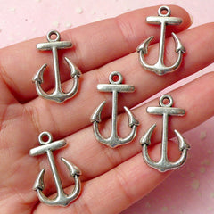 Anchor Charms Nautical Charms (5pcs) (16mm x 23mm / Tibetan Silver / 2 Sided) Bracelet Earrings Zipper Pulls Bookmarks Key Chains CHM333
