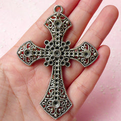 Big Cross Charms (1pc) (57mm x 80mm / Tibetan Silver) Metal Findings Pendant Bracelet Earrings Zipper Pulls Bookmark Keychain CHM337