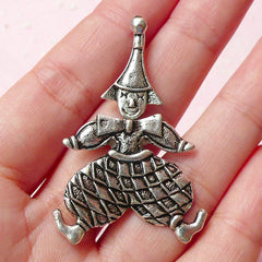 Clown Charm Moveable Charm (1pc) (28mm x 46mm / Tibetan Silver) Metal Findings Pendant Bracelet Earrings Zipper Pulls Keychain CHM297