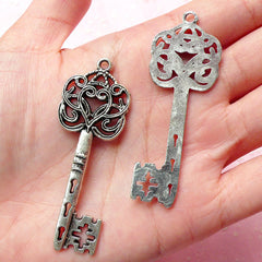 Big Key Charm (2pcs) (21mm x 58mm / Tibetan Silver) Metal Finding Pendant Bracelet Earrings Zipper Pulls Bookmarks Key Chains CHM336