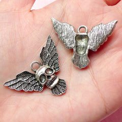 Skull w/ Wings Charms Devil Charm (3pcs) (26mm x 35mm / Tibetan Silver) Pendant Bracelet Earrings Zipper Pulls Bookmarks Key Chains CHM352