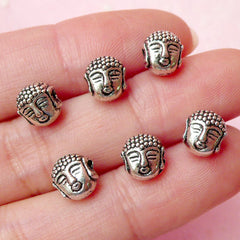 Buddha Head Beads (6pcs) (7mm x 8mm / Tibetan Silver / 2 Sided) Religious Findings Pendant Bracelet Earrings Zipper Pulls Keychain CHM360