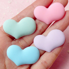 Heart Cabochon (Pastel Green, Pink, Blue and Purple / 4pcs / 32mm x 20mm) Kawaii Cabochon Colorful Phone Deco Scrapbooking Decoden CAB273