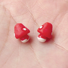 Mini Mushroom Cabochon / 3D Miniature Mushroom (2pcs / Red / 8mm x 11mm) Terrarium Fairy Garden Embellishment Alice in Wonderland CAB274
