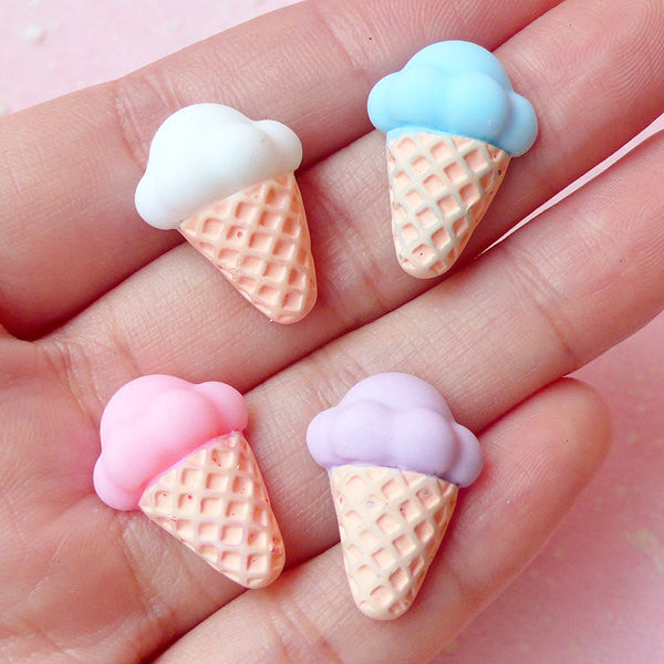 Kawaii Ice Cream Cabochon (4pcs / 15mm x 21mm / Pastel Color / Flat Back) Decora Fairy Kei Cabochon Sweets Decoration Embellishment FCAB128