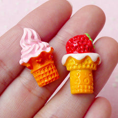 Strawberry Ice Cream Cabochon Mix (2pcs / 23mm / Flat Back) Kawaii Scrapbooking Sweets Decoden Phone Case Fake Dessert Embellishment FCAB129