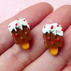 3D Chocolate Popsicle / Ice Cream Bar Cabochon (2pcs / 10mm x 16mm) Miniature Sweets Deco Kawaii Embellishment Fake Food Jewellery FCAB130