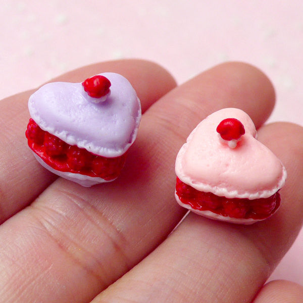 3D French Raspberry Macaroon Cabochons in Heart Shape / Dollhouse Miniature Macaron (2pcs / 13mm x 12mm / Pink & Purple) Kawaii Deco FCAB137