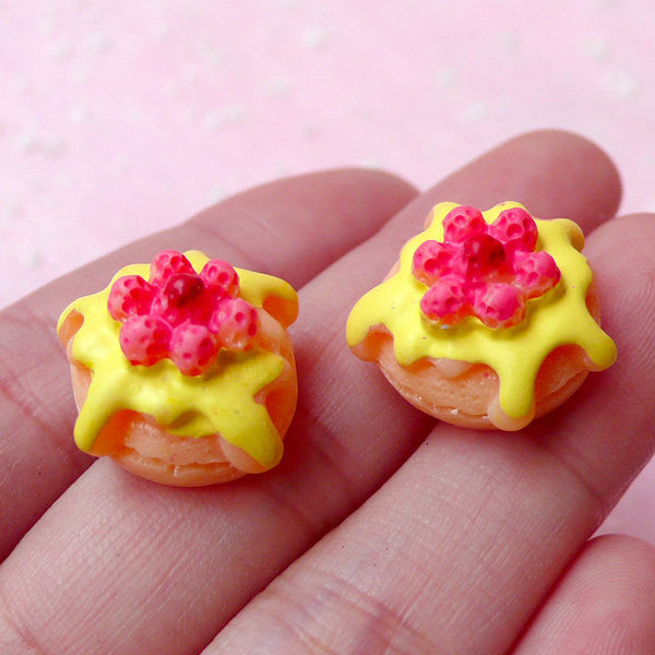 Miniature Raspberry Strawberry Pancake Cabochons (2pcs / 16mm x 18mm / 3D) Kawaii Dollhouse Food Decoden Phone Case Fake Sweets Deco FCAB139